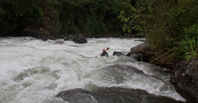 Jared charging into another stompy fun rapid, Chris Baer, Colombia