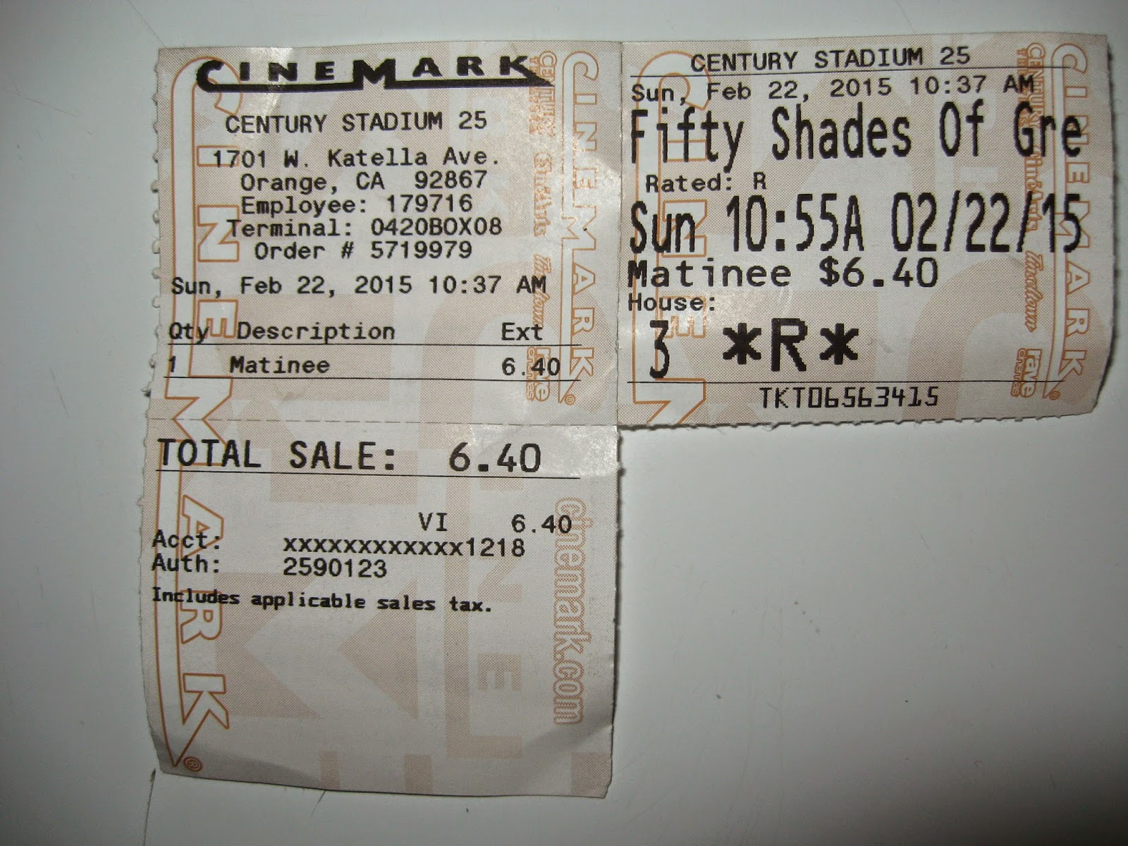 Cinemark Ticket Stub