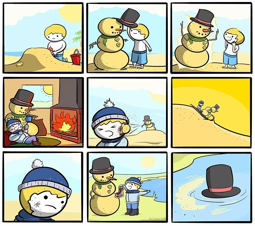 Мальчик и песчаный снеговик