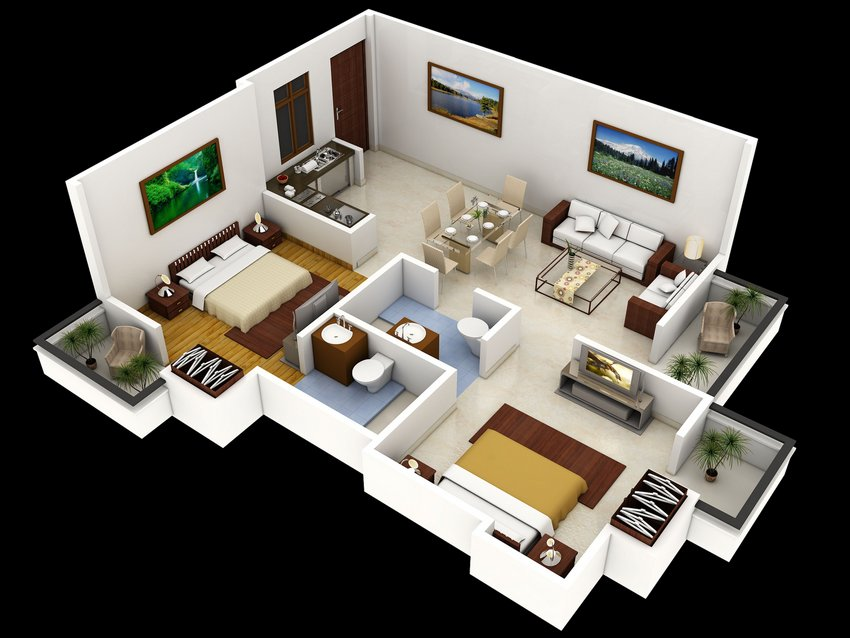 3D House Cool Of Interior Plan Houses 1