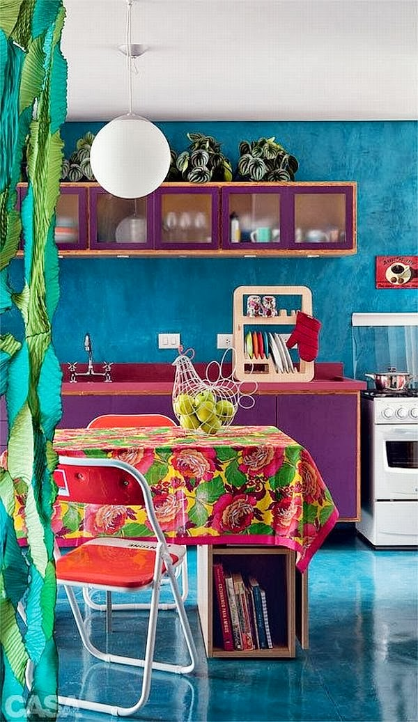 modern and bohemian turquoise and colorful kitchen