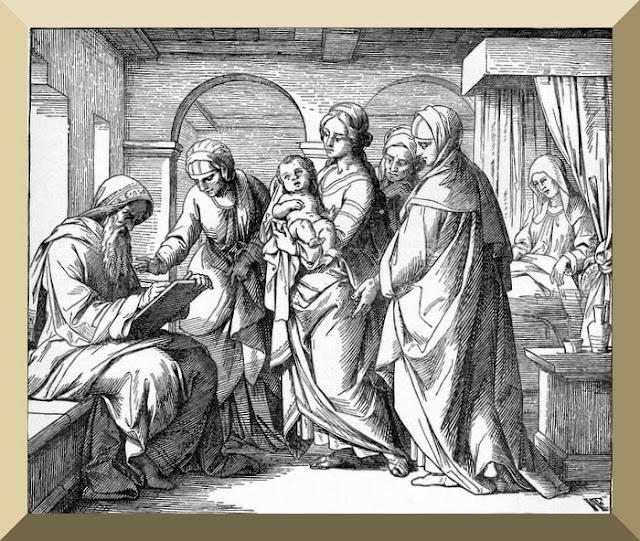 """""""Zacharias Writes that His Son's Name Was John"""" -- illustrator unknown"""