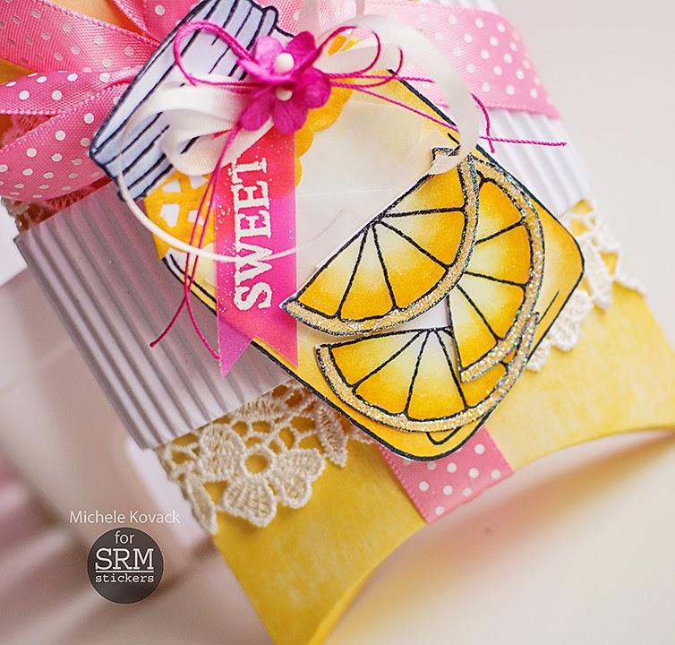 SRM Stickers Blog - Sweet Lemonade by Michele - #pillowbox #kraft #gift #clearstamps #janesdoodles #lifeisgood #DIY