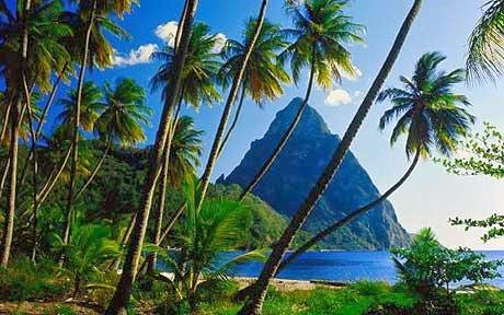 Picture of St. Lucia beach with a view of the Pitons.