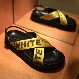 OFF-WHITE C/O Virgil Abloh Industrial Belt Sandals at Barneys New York.