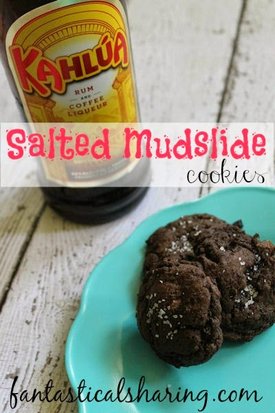 Salted Mudslide Cookies | Sweet chocolate chunks, a little coffee liqueur, and a sprinkle of sea salt on top make up this magical cookie! #recipe #kahlua #cookies