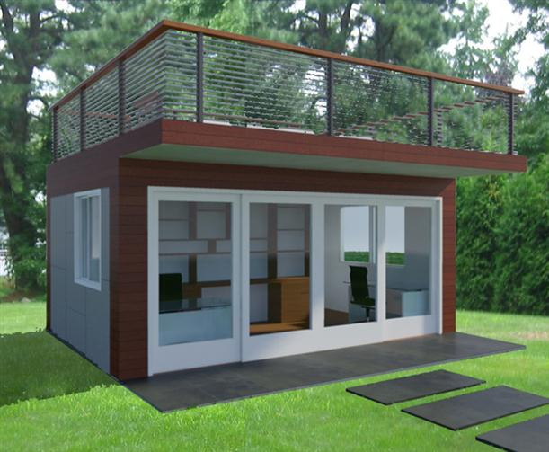 Backyard House Plans :  Home Office  Comfortable Backyard Home Office Design ? A Garden
