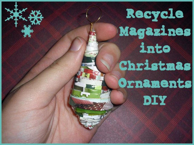 christmas tree shaped ornaments from magazine pages