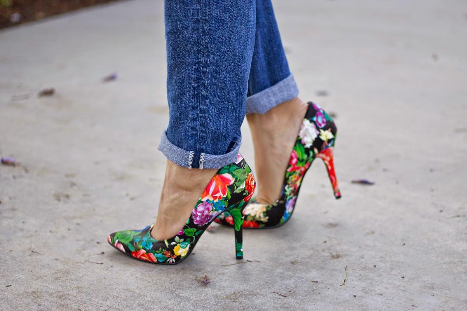 Charlotte Russe floral heels, qupid floral heels, red floral heels, black floral pumps, Spring 2015 heels, Summer 2015 heels