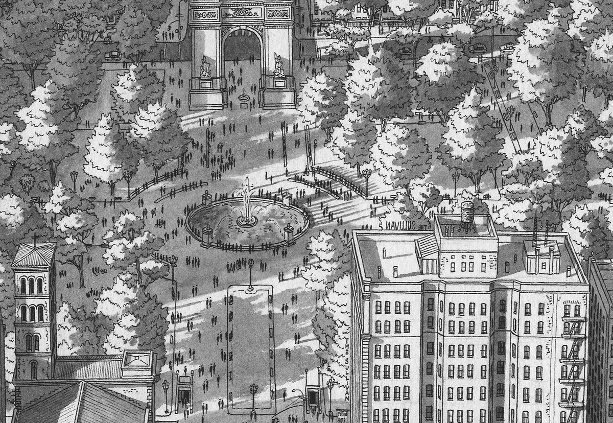 20-Washington-Square-NYC-Stefan-Bleekrode-Detailed-Architectural-Drawing-from-the-Imagination-www-designstack-co