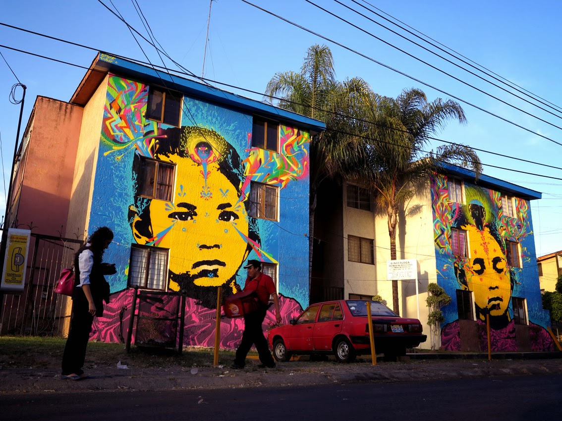 Stinkfish recently stopped by Mexico where he worked on this diptych somewhere on the streets of Tonala, a city within the Guadalajara Metropolitan Area in the state of Jalisco.