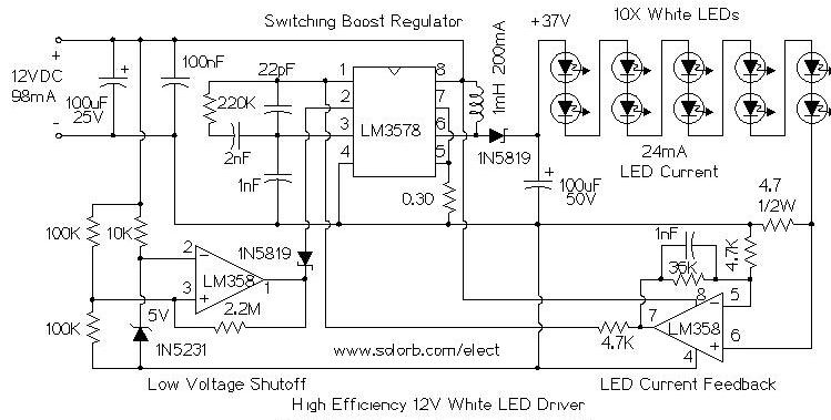 electronics projects  dc led driver