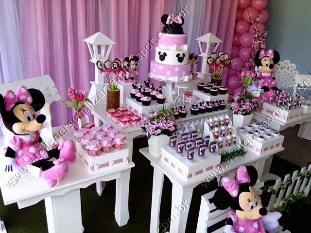 Decoração de festa infantil Minnie Rosa Porto Alegre