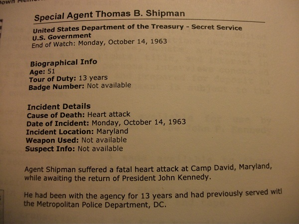 SA Thomas B Shipman, one of JFK's driver agents, dies 10/14/63 of a heart attack at Camp David