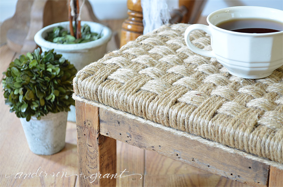 Wrap a wood footstool in jute twine for a rustic look | www.andersonandgrant.com