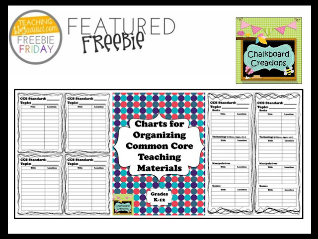 http://www.chalkboardcreations.com/freebie-friday-charts-for-organizing-common-core-teaching-materials/