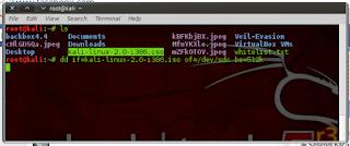dd if=kali-linux-2.0-i386.iso of=/dev/sdc bs=512k