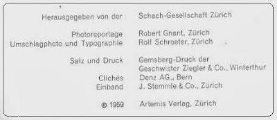 Colaboradores del libro del Torneo Internacional de Ajedrez Zúrich 1959