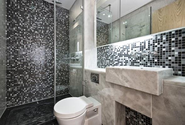 A casa da Jaque e do Léo Decoração do Banheiro -> Banheiro Com Pastilha No Fundo