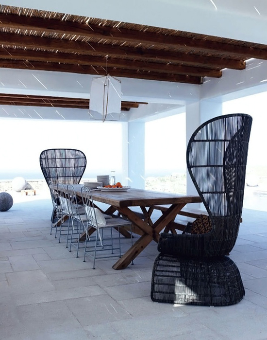Breezy terrace with sea view in Mykonos. Design by Marilena Rizou, photo by Gaelle le Boulicaut
