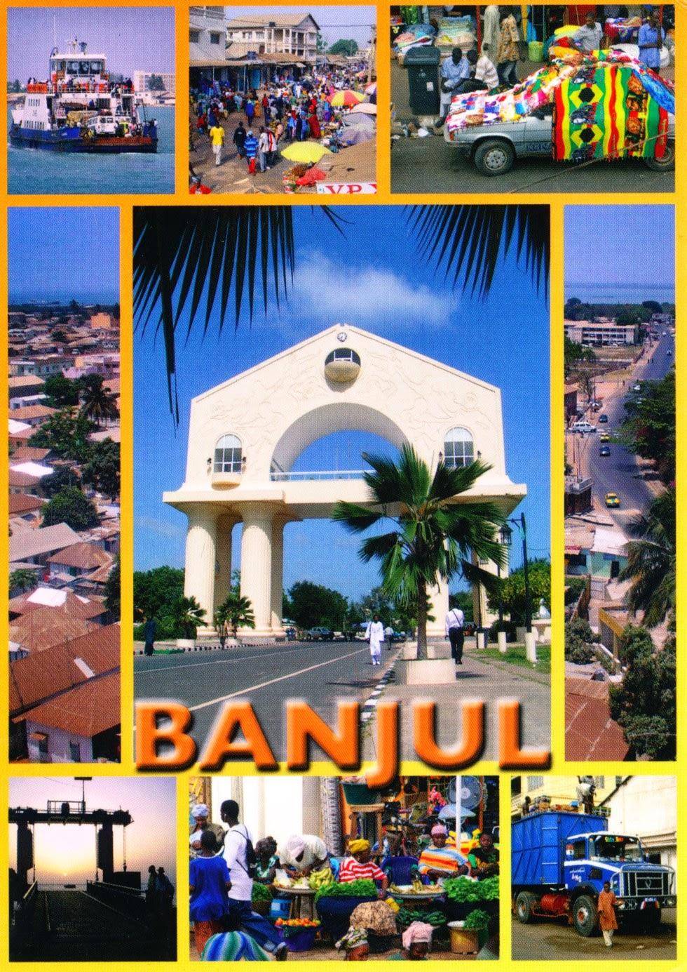 arch 22, banjul, gambia, market, postcard