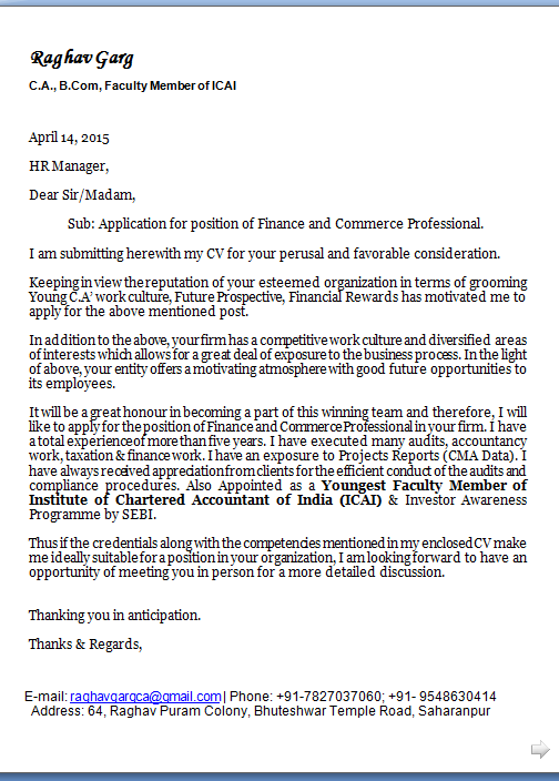 Future consideration cover letter