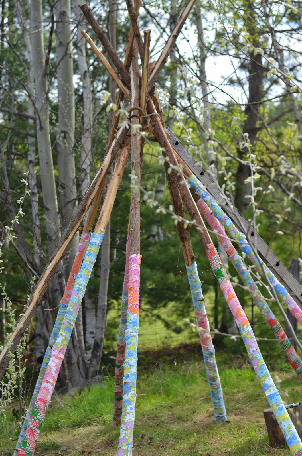 Twig and toadstool scrap fabric teepee part two for Kids outdoor fabric