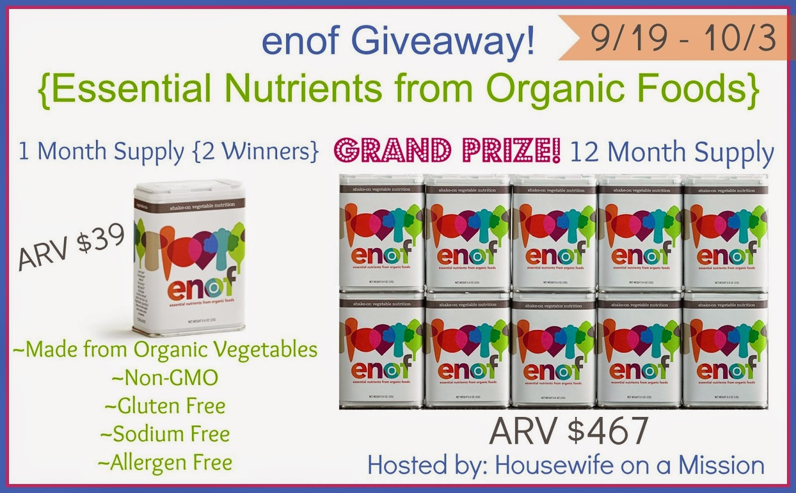 Organic Foods Supply - ENOF Giveaway