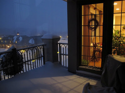 The Athertyn Residents' Clubhouse as seen from one of the luxury lifestyle homes on a snowy December evening.