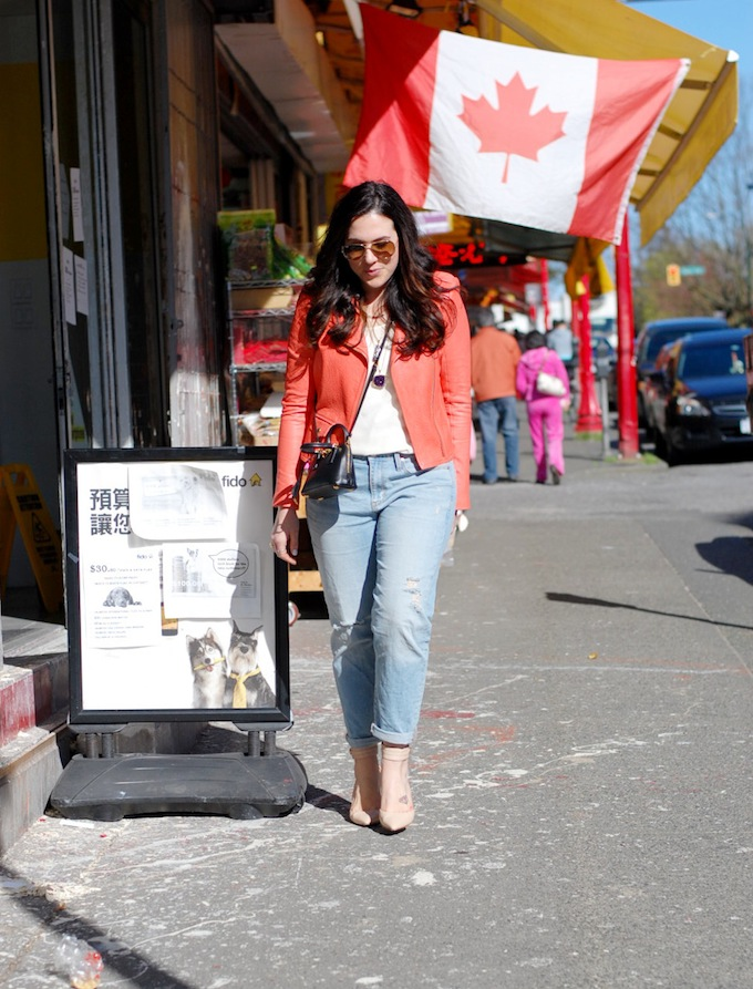 Coral leather Theory Jacket and Mini Prada handbag Covet and Acquire