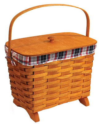 knitting basket with fabric liner and lid
