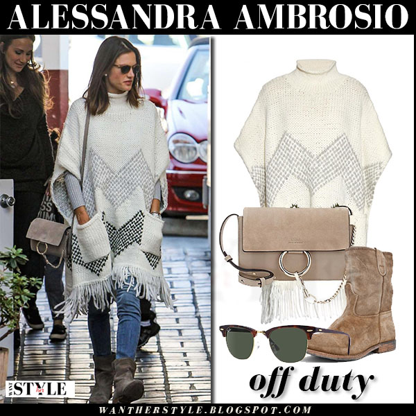 Alessandra Ambrosio in cream knit fringed elizabeth and james poncho and suede boots what she wore streetstyle