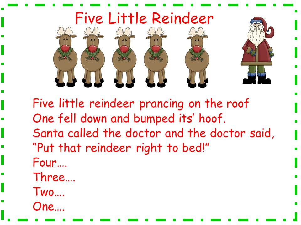 A Teacher\'s Touch: Five Little Reindeer Song and Words Freebie