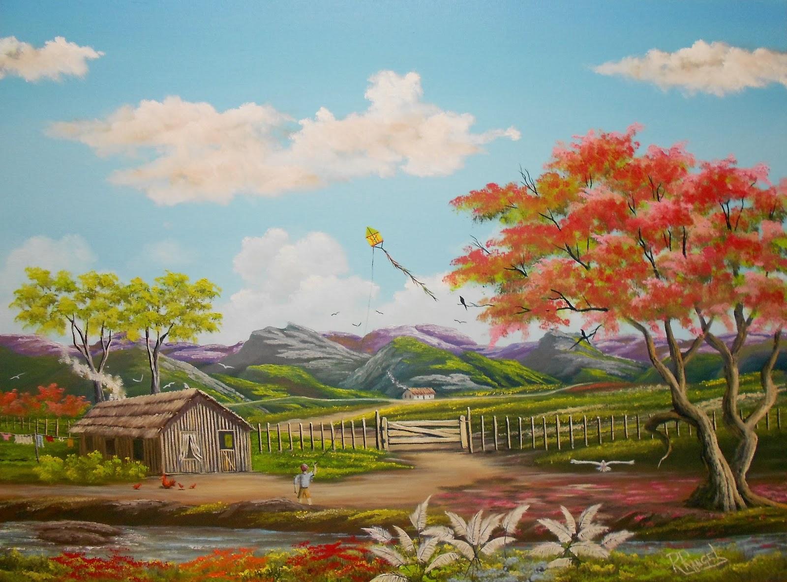 Rrangel pinturas pintura menino do campo soltando pipa for Pinturas para casas de campo