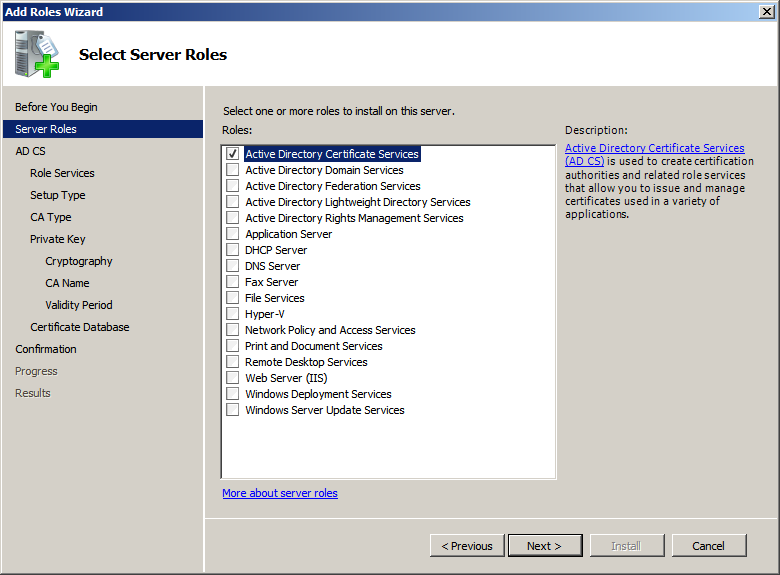 Itechnology blog installing windows 2008 r2 certificate services select active directory certificate services yelopaper Gallery