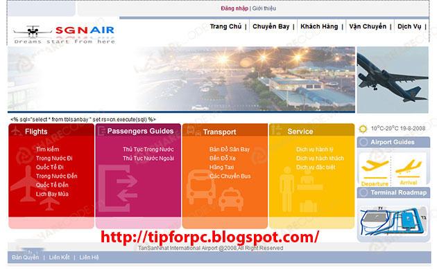Source ASP.Net Mã nguồn code Website quản lý sân bay