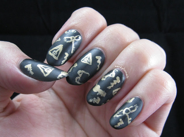 Harry Potter Inspired Nails with hallows, snitches, glasses and lightning bolts