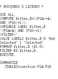 Imagen de una sintaxis de SPSS
