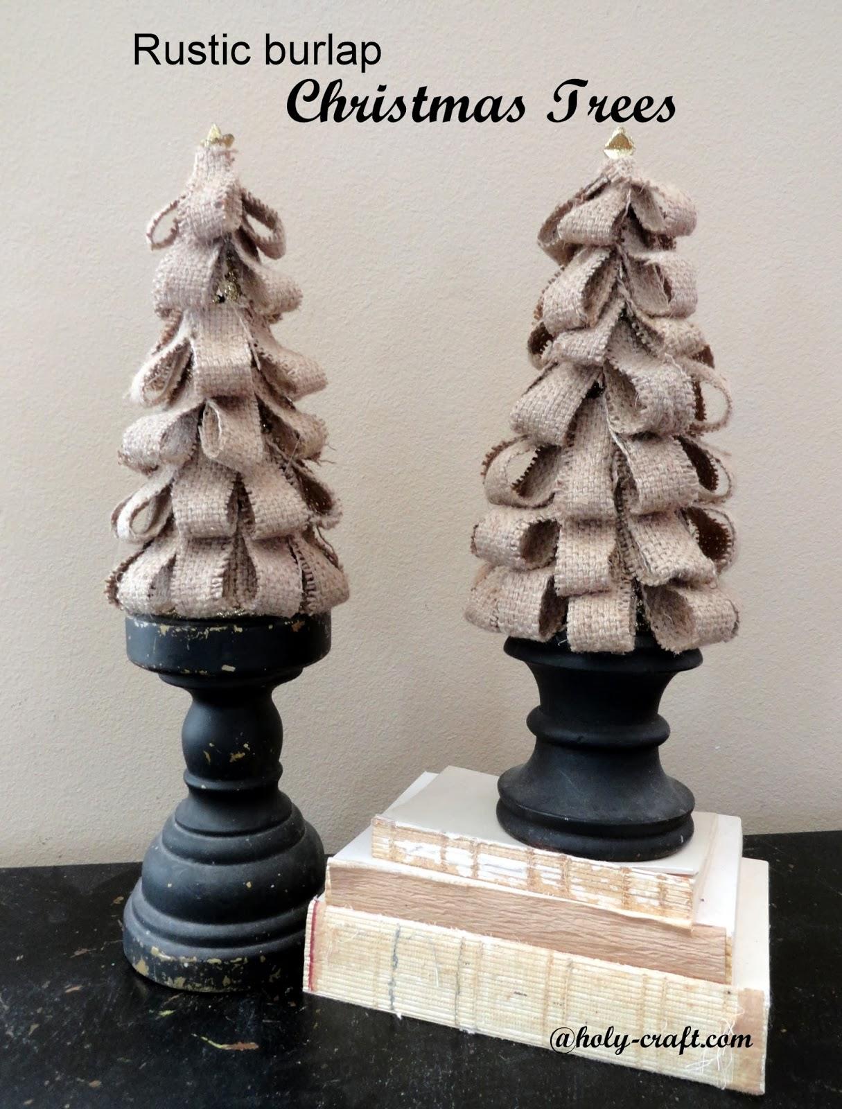 rustic burlap christmas trees rachel teodoro