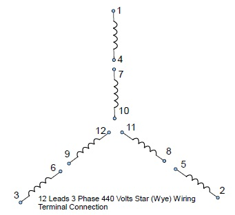 12 leads terminal wiring guide for dual voltage star (wye) connected 9 lead motor diagram 12 leads 3 phase high volts star wye connected motor configuration