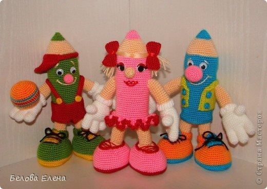 вязаные игрушки, малыши-карандаши, игрушки от елены беловой