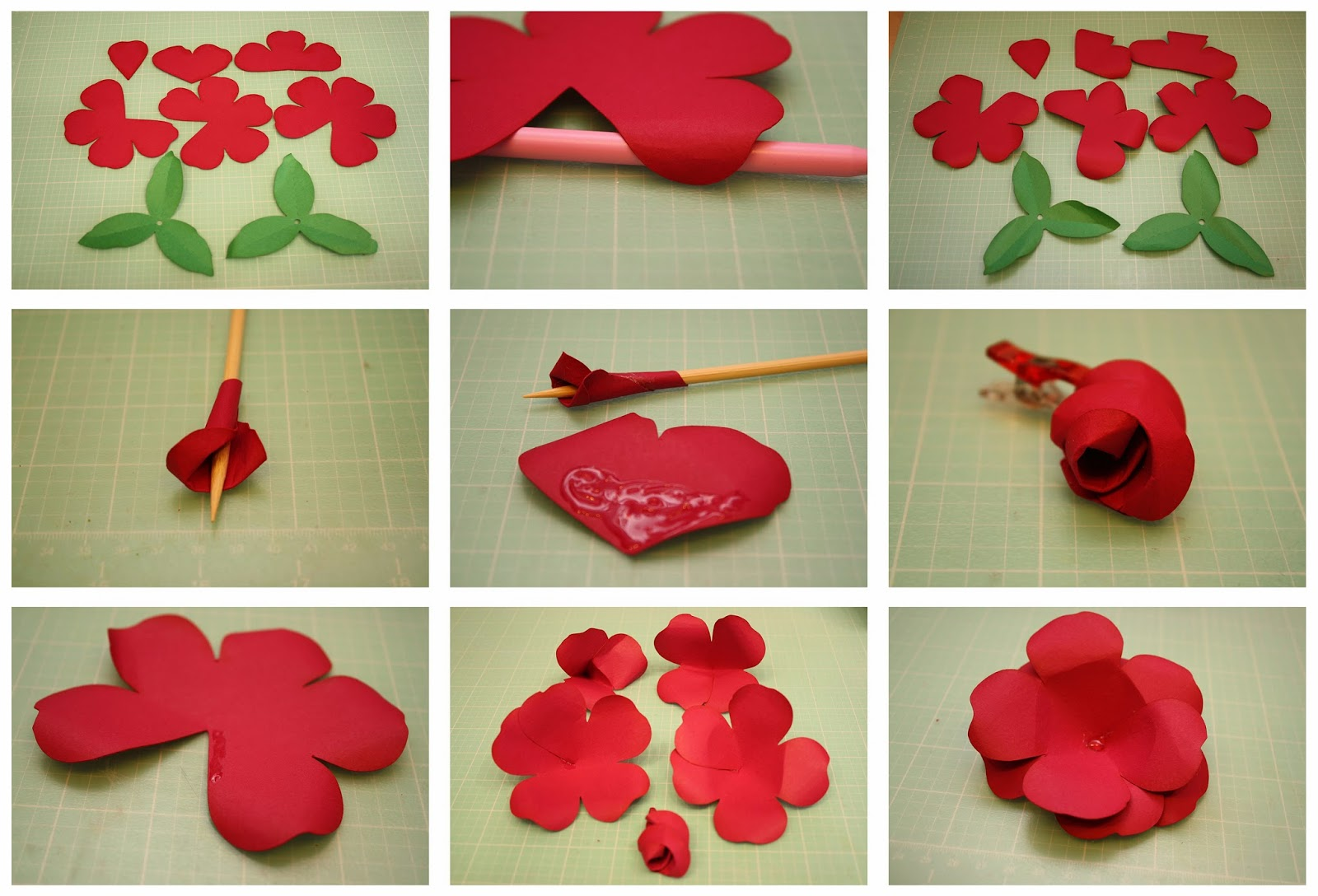 paper rose flower making