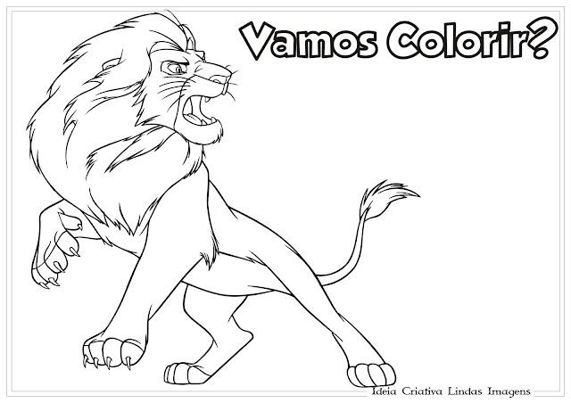 Desenho do Rei Leão bravo para colorir