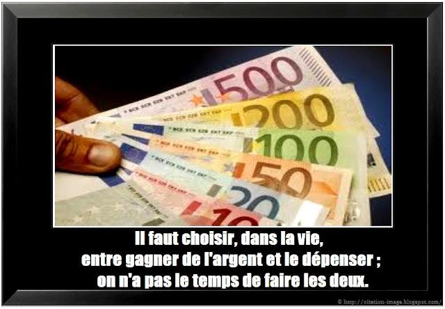 Citaion sur l'argent en image