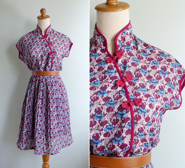 vintage 1970's shanghai mandarin collar chinese dress