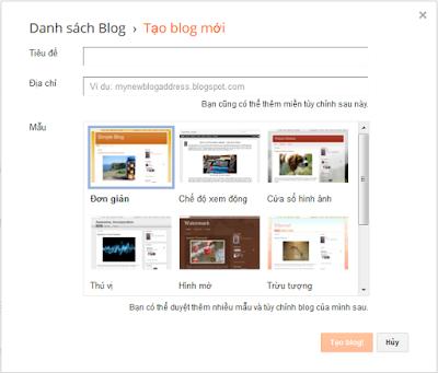 Giao diện khi click tạo blog mới