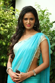 Actress Meenakshi Dixit Latest Pictures in Saree at Thenaliraman Movie Audio Launch 6.jpg