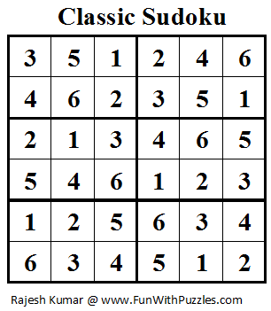 Classic Sudoku (Mini Sudoku Series #12) Solution