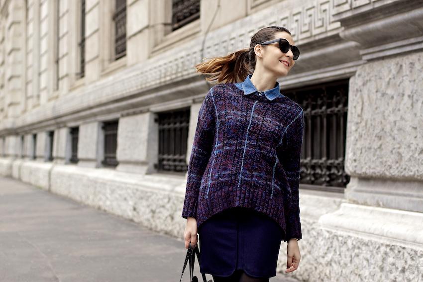 tartan purple blue sweater outfit idea - irene buffa milano