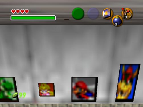 Mario, Yoshi, Peach, Bowser, Luigi en Zelda